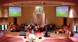 Projection Software being used in a live service
