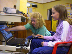 Children operating the software